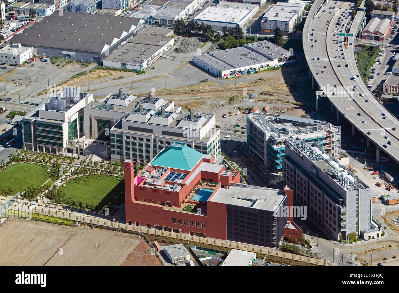 aerial view above Mission Bay biomed biotechnology UCSF University