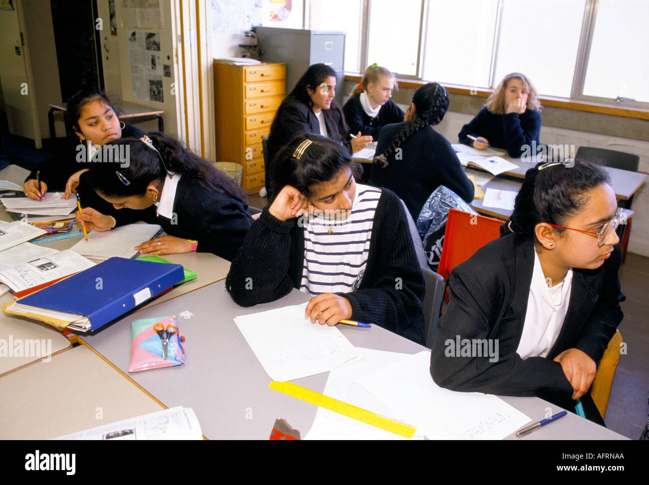 4TH FORM GIRL PUPILS DURING GEOGRAPHY LESSON GREENFORD HIGH