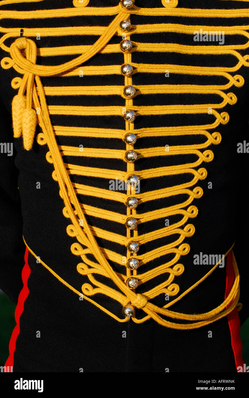 ceremonial dress uniform tunic close up as worn by a trooper gunner in the royal horse artillery branch of the british - Stock Image