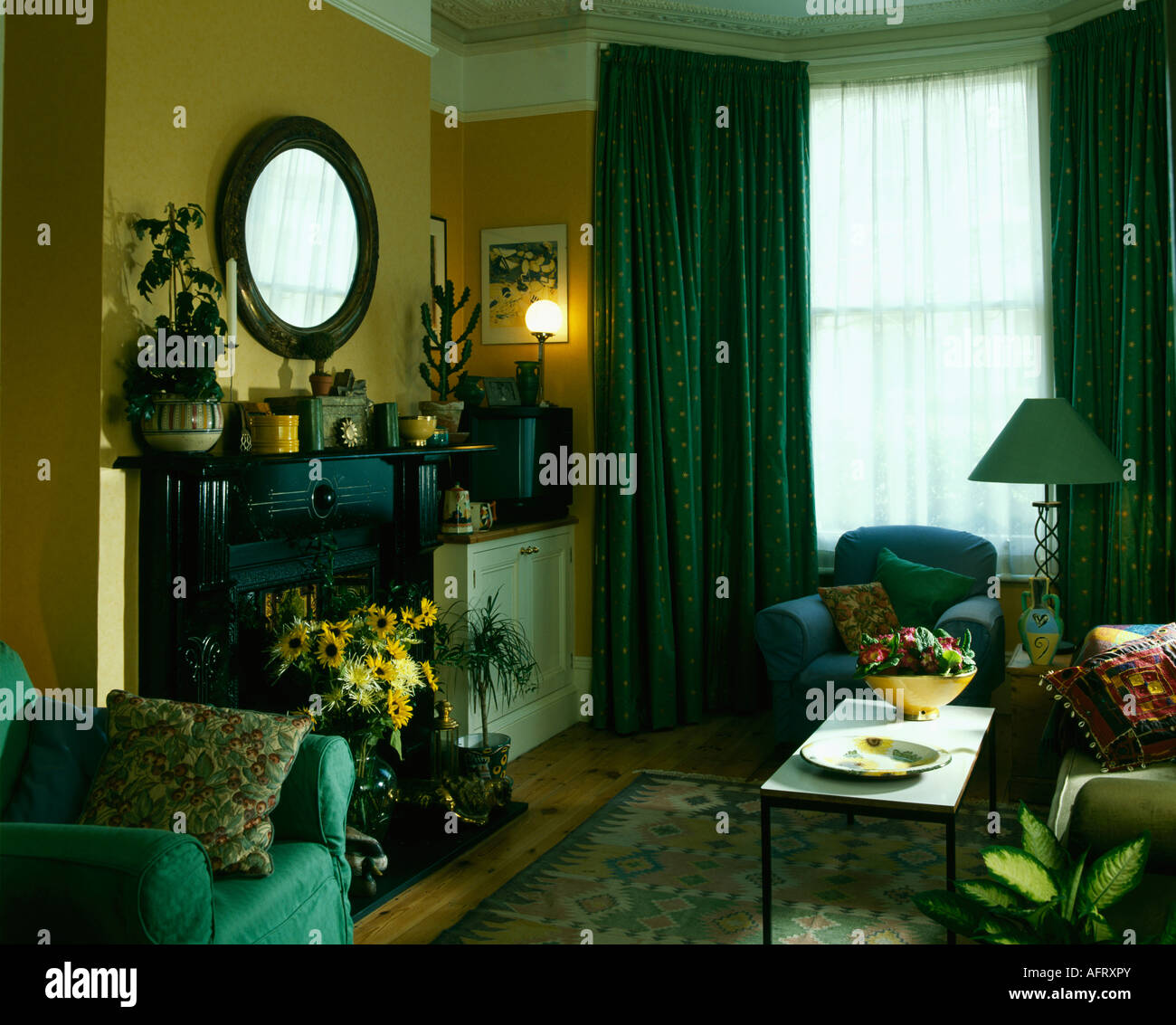 Green Curtains In Yellow Nineties Living Room With Yellow