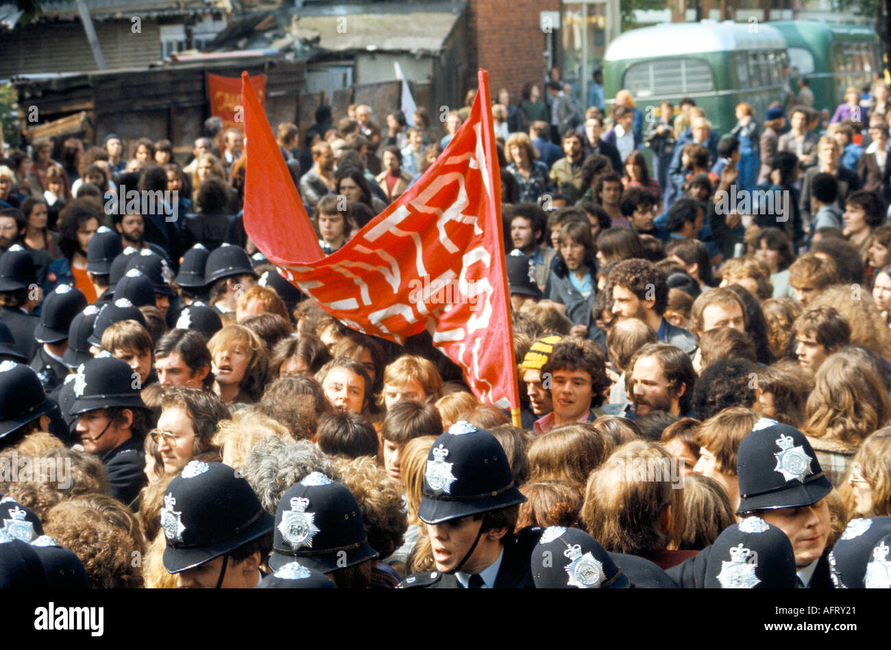Grunwick industrial dispute and protest. Asian women film processing factory strike North london 1970s 1977 - Stock Image