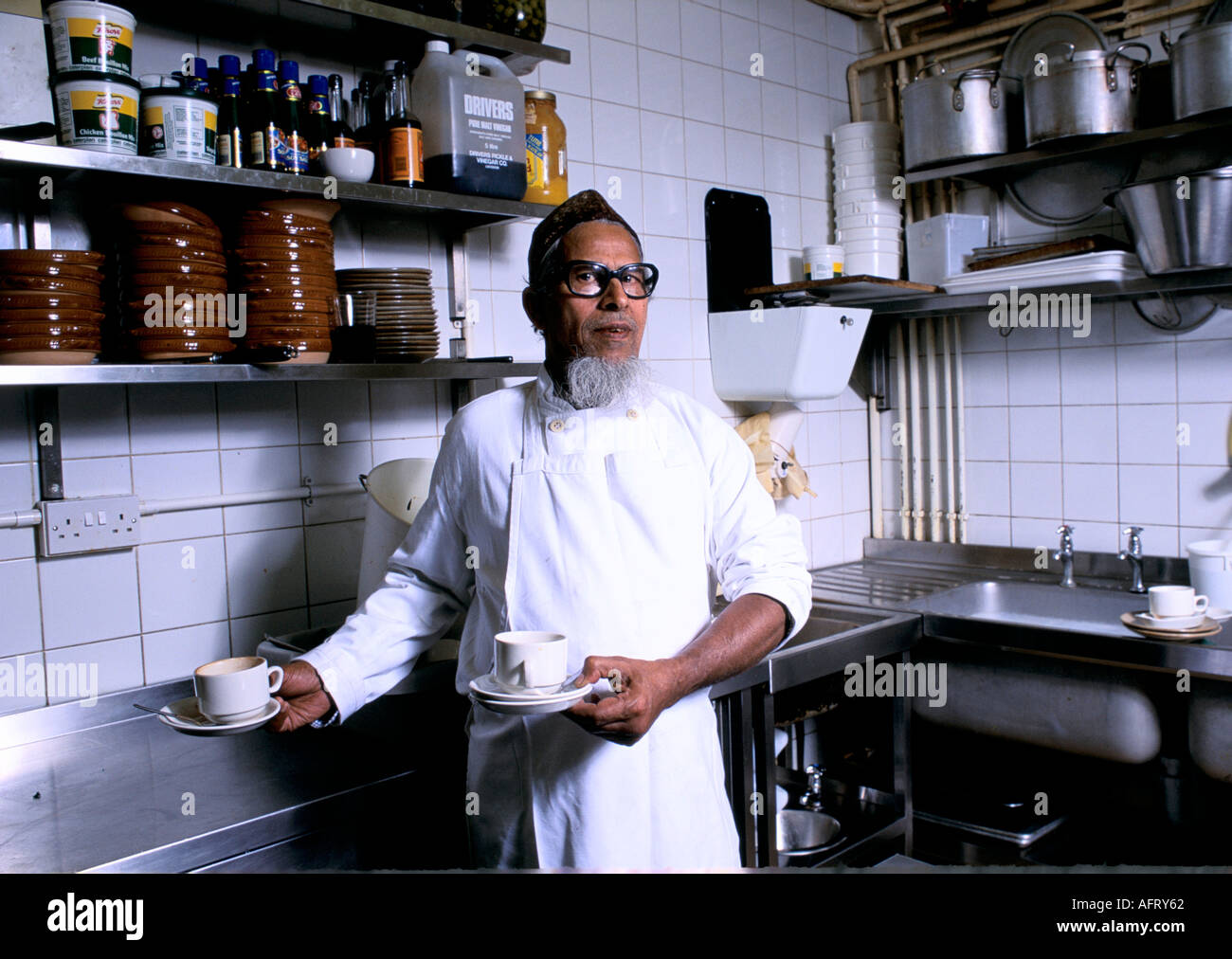 AABDUL KIAM. HOTEL KITCHEN PORTER   LONDON - Stock Image