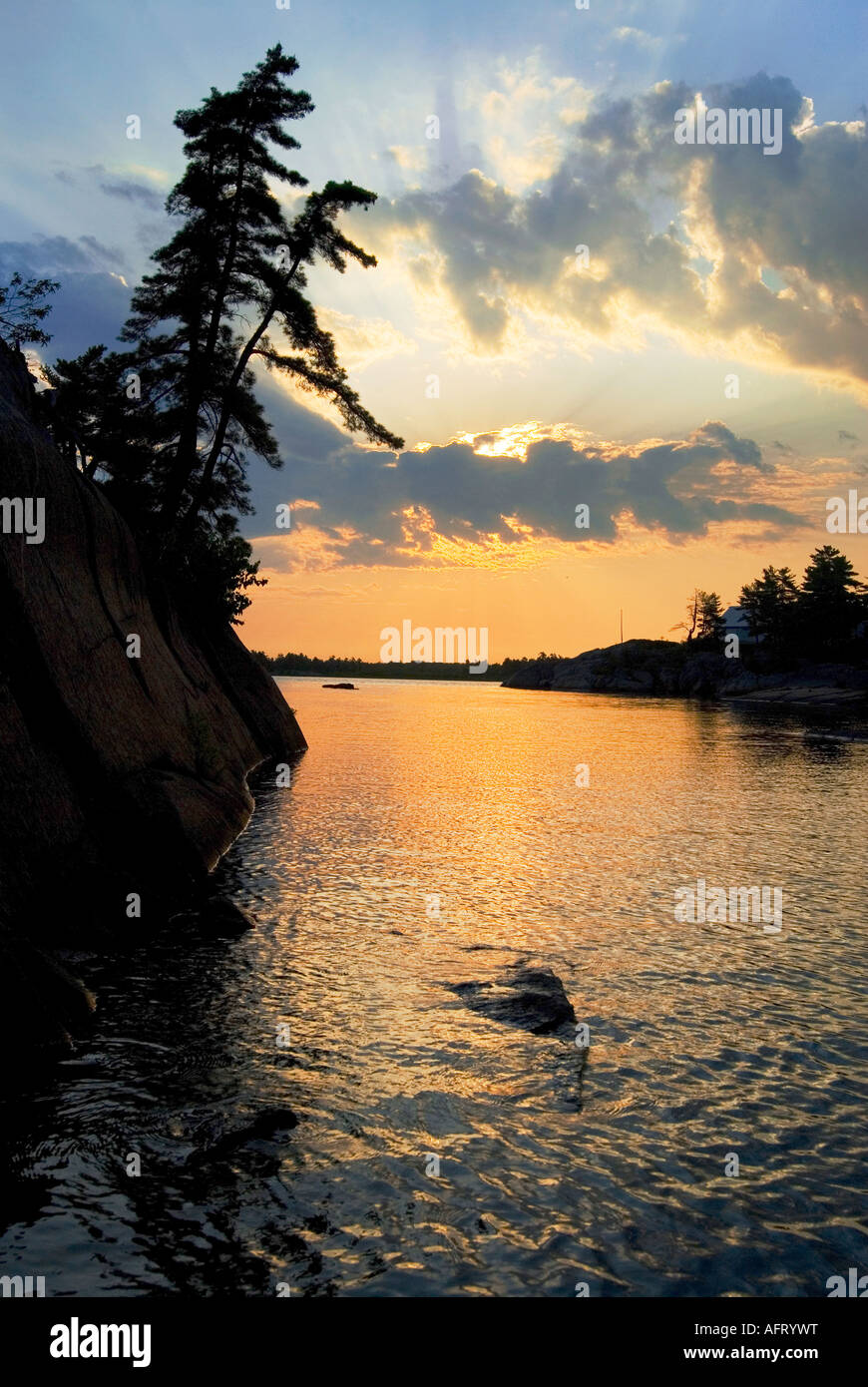 Sunrise in Ontario's cottage country - Stock Image