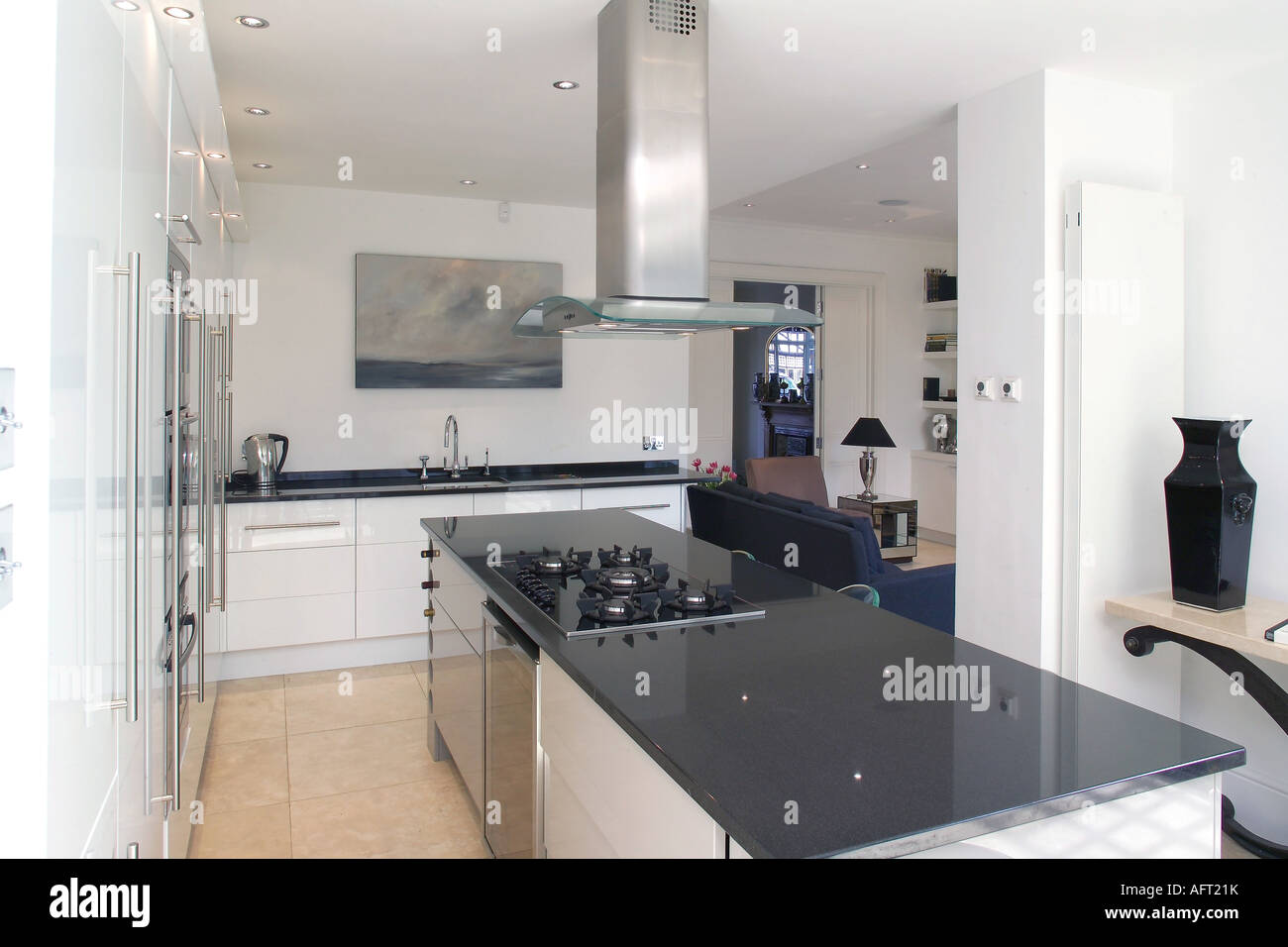Full Hob Kitchen ~ Extractor fan above hob in black granite island unit