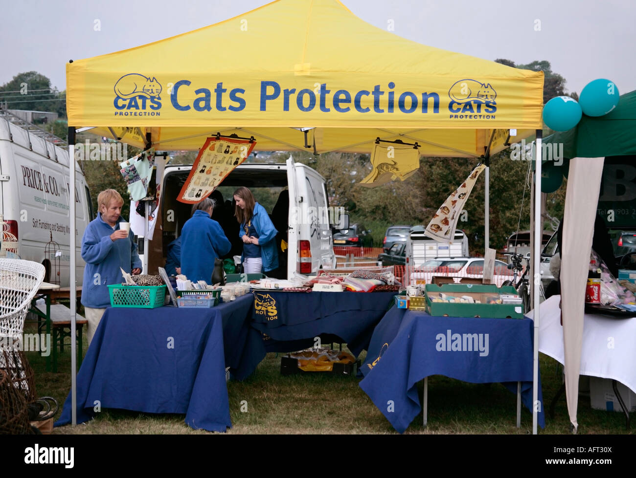 Cats Protection stand at village fair. England, UK - Stock Image