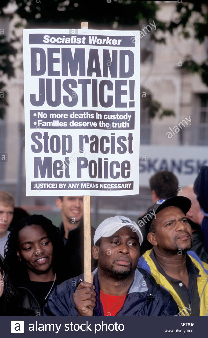 Procession in memory of people who have died in police custody prison or psychiatric hospitals London 27 October 2001 UK - Stock Image