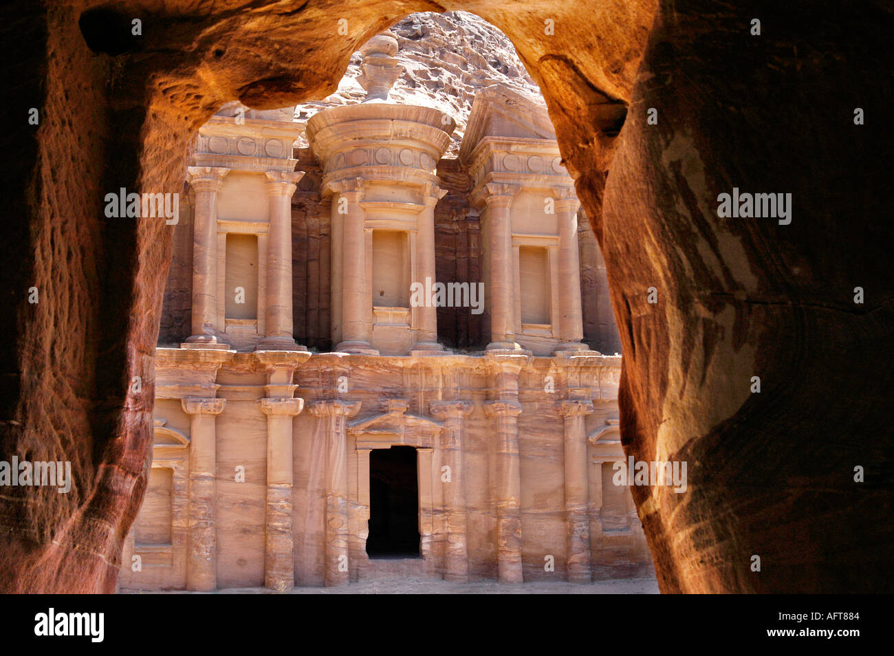Cave view of the monastery in Petra Jordan Stock Photo