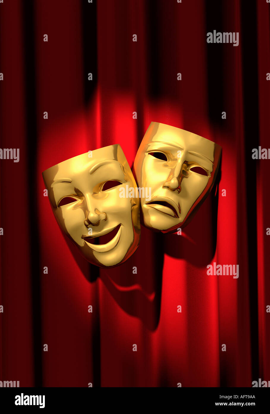 Comedy and Tragedy masks on red curtain. - Stock Image