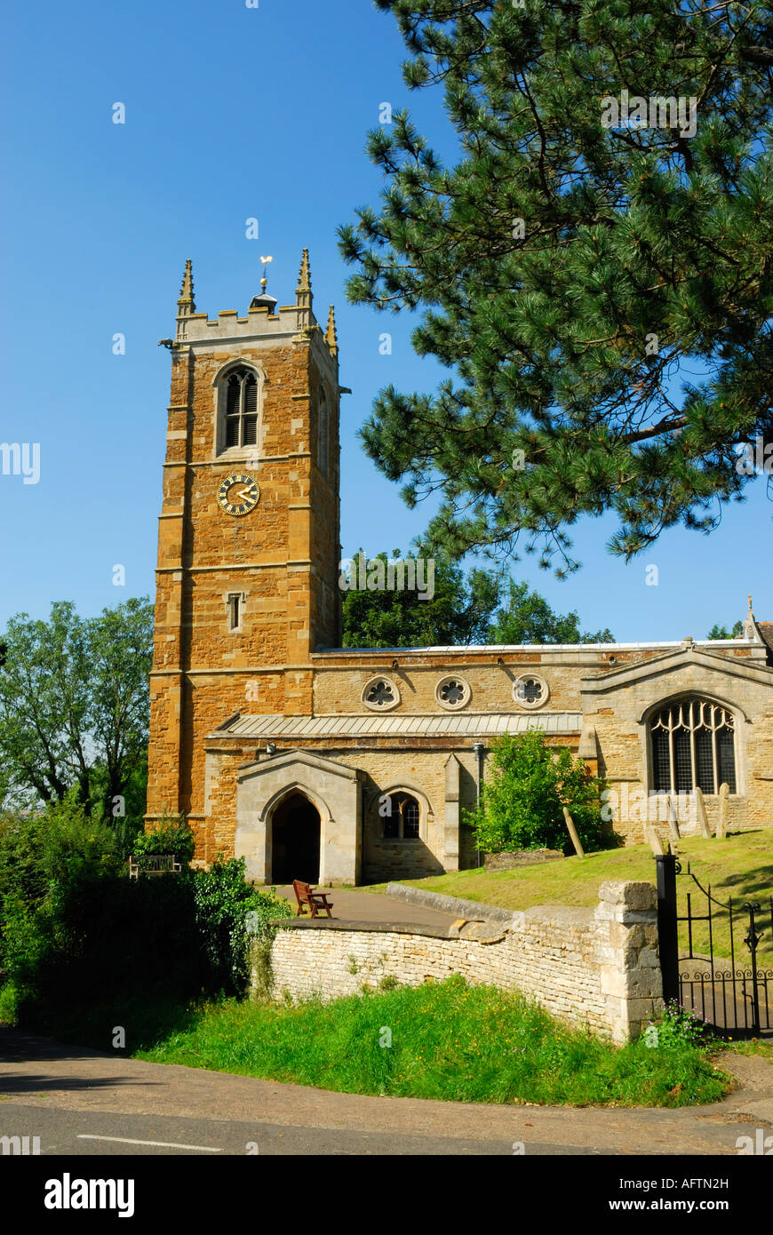 Church of St James at Gretton near Corby Northamptonshire England - Stock Image