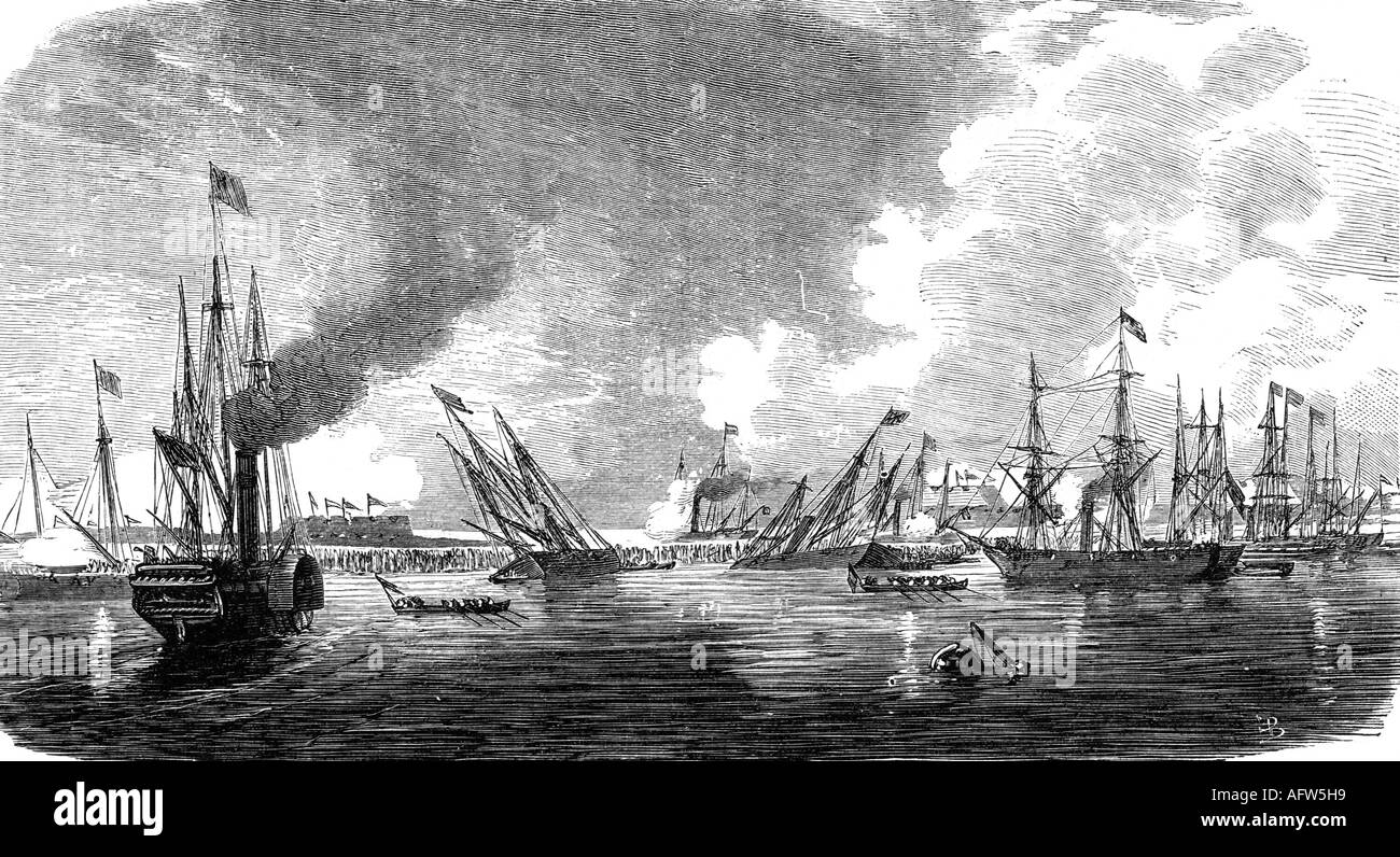 events, Second Opium War 1856 - 1860, attack against the Taku forts, 20.5.1858, engraving, 'Die Glocke', Leipzig, 29.10.1859, China, Great Britain, France, colonialism, imperialism, French and British navy, warships, Asia, , Additional-Rights-Clearances-NA - Stock Image