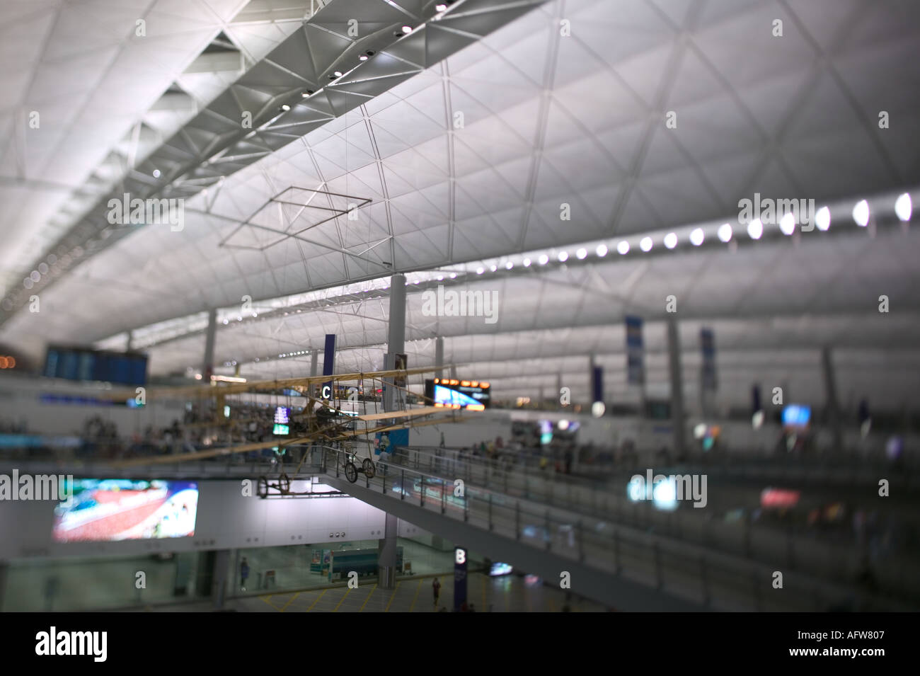 departure area at Hong Kongs Chek Lap Kok airport - Stock Image