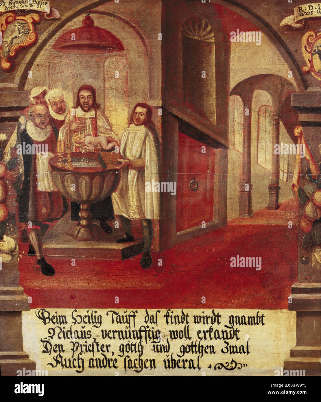 Nicholas of Flue, 1417 - 21.3.1487, Swiss hermit, ascetic, mystic, Saint,  baptism, painting, 1677, Emmaus chapel, Bremgarten, , Additional-Rights-Clearances-NA - Stock Image