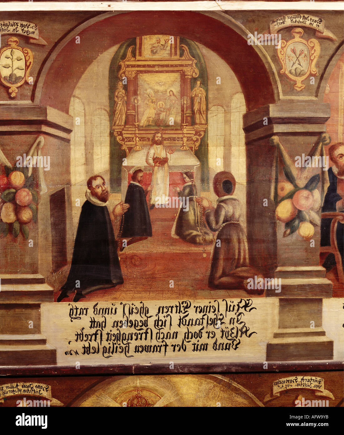 Nicholas of Flue, 1417 - 21.3.1487, Swiss hermit, ascetic, mystic, Saint,  wedding, painting, 1677, Emmaus chapel, Bremgarten, , Additional-Rights-Clearances-NA - Stock Image