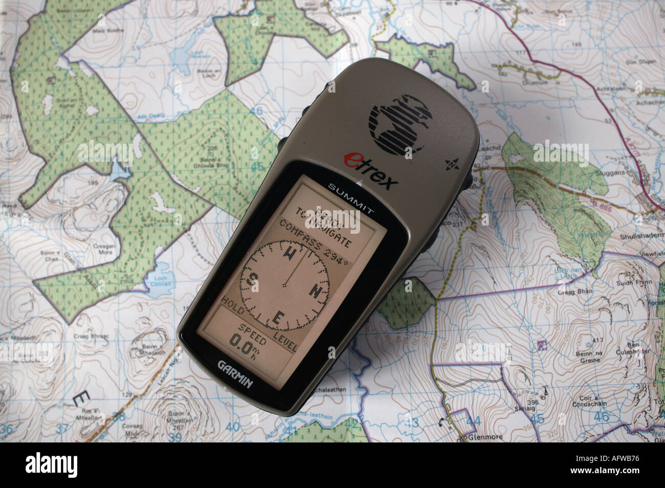 Close up of a hand held Global Positioning Sattelite unit - Stock Image