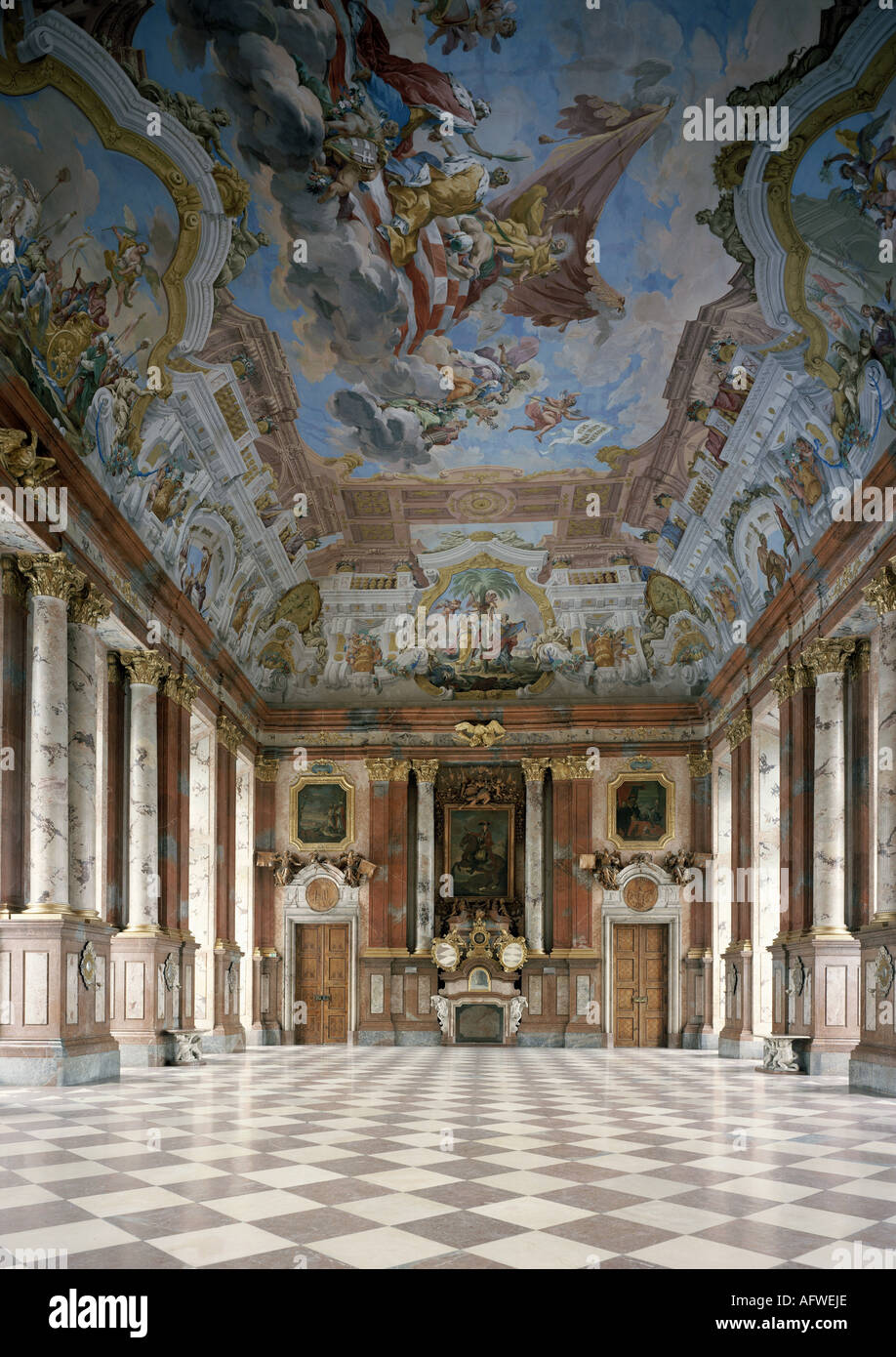 geography/travel, Austria, Upper Austria, Sankt Florian, churches and convents, Sankt Florian monastery, interior view, marble hall, 1686 - 1708, built by Carlo Antonio Carlone, , Additional-Rights-Clearance-Info-Not-Available - Stock Image