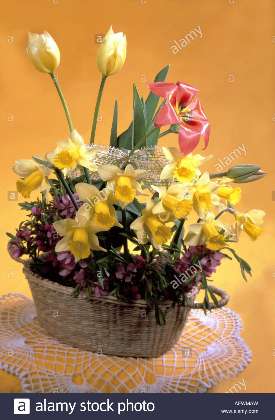 Basket Full Of Spring Flowers Stock Photo 14027904 Alamy
