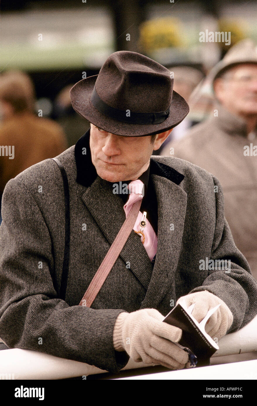 man wearing brown tweed coat and brown fedora hat. Cheltenham Horse racing  Festival Gloucestershire - 929e5a623bb