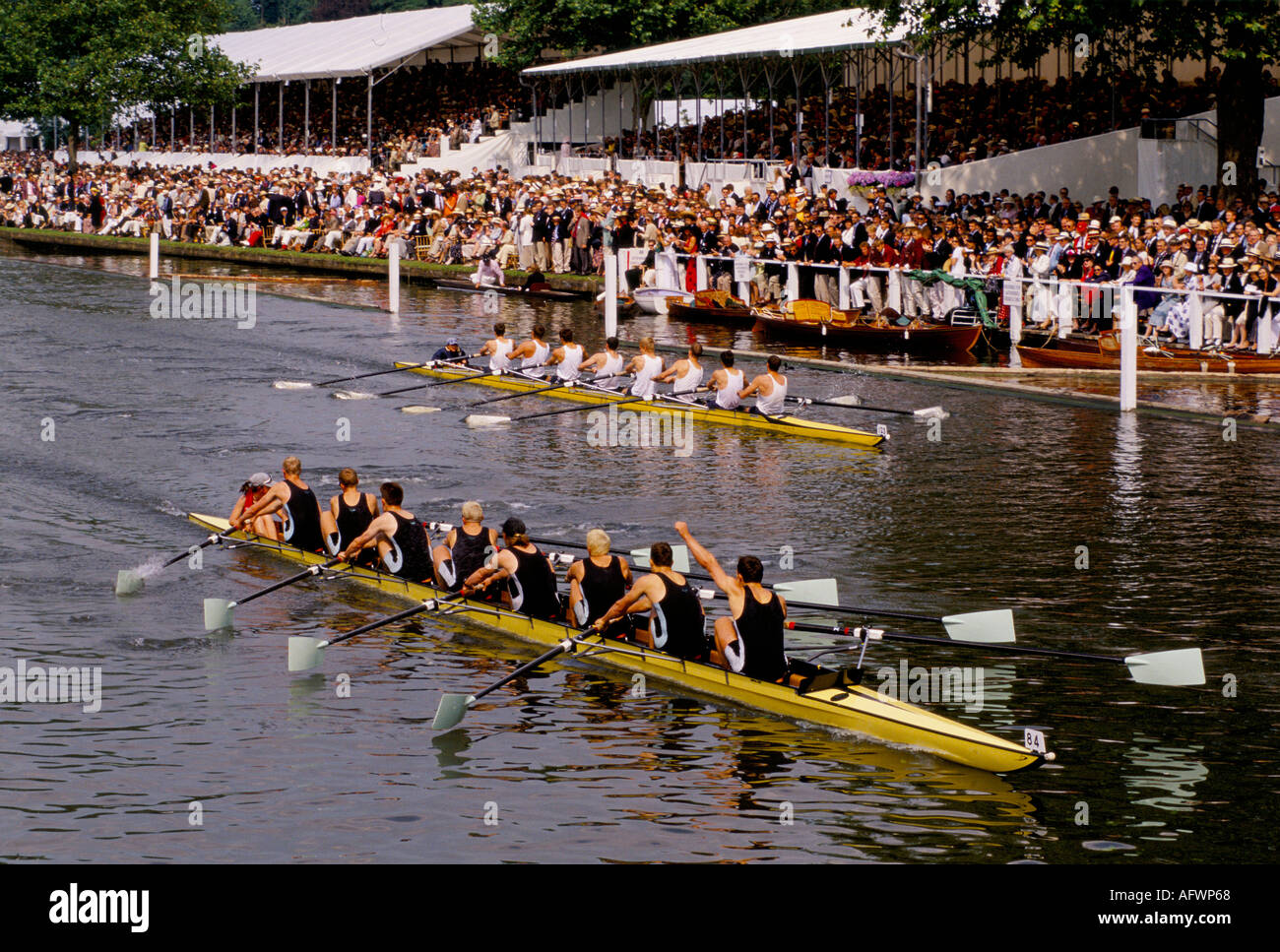 Henley Royal Regatta. Henley on Thames crowds watch   the boat  race  from the stands riverbank. Berkshire   HOMER Stock Photo