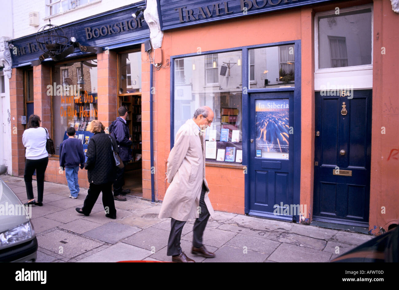 The 'Travel Bookshop' Notting Hill Gate west London 13 Blenheim Crescent . Made famous in Hugh Grant film. HOMER SYKES - Stock Image