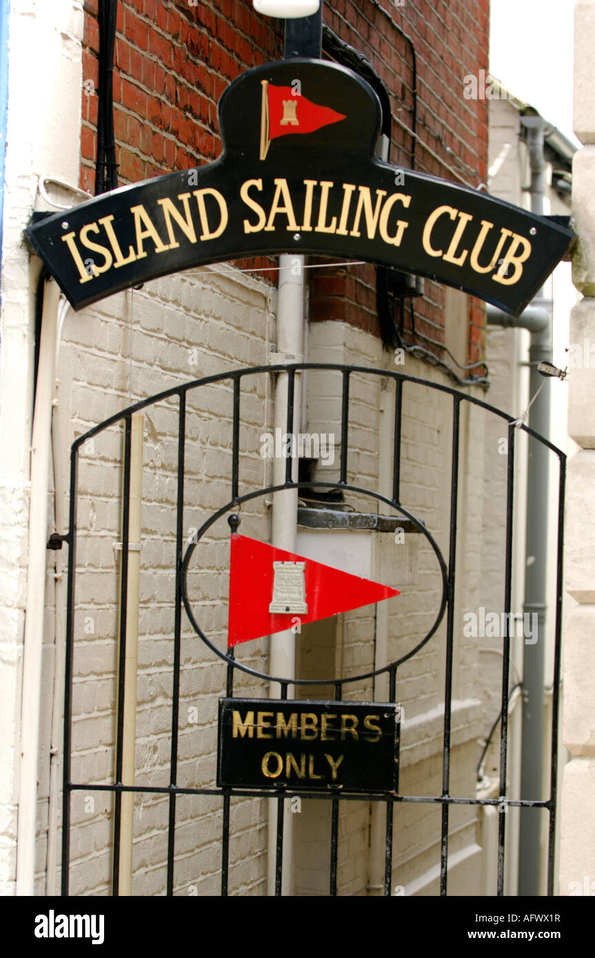 gated entrance to the private members only island sailing club in cowes high street on the isle of wight - Stock Image