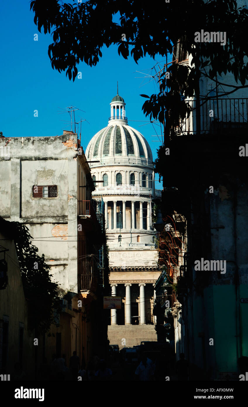 Cuba Havana Habana Vieja the Brasil or Teniente Rey street leading to the Capitolio national government building - Stock Image