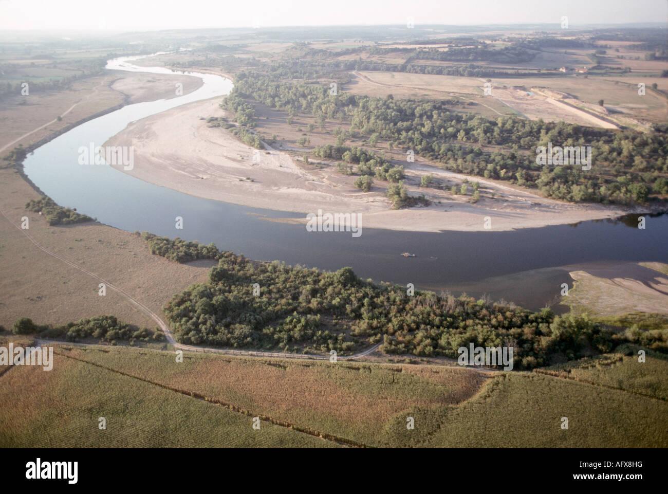 aerial view ,aerien,aerial,vue aerienne,meandre loire pres de nevers nievre france - Stock Image