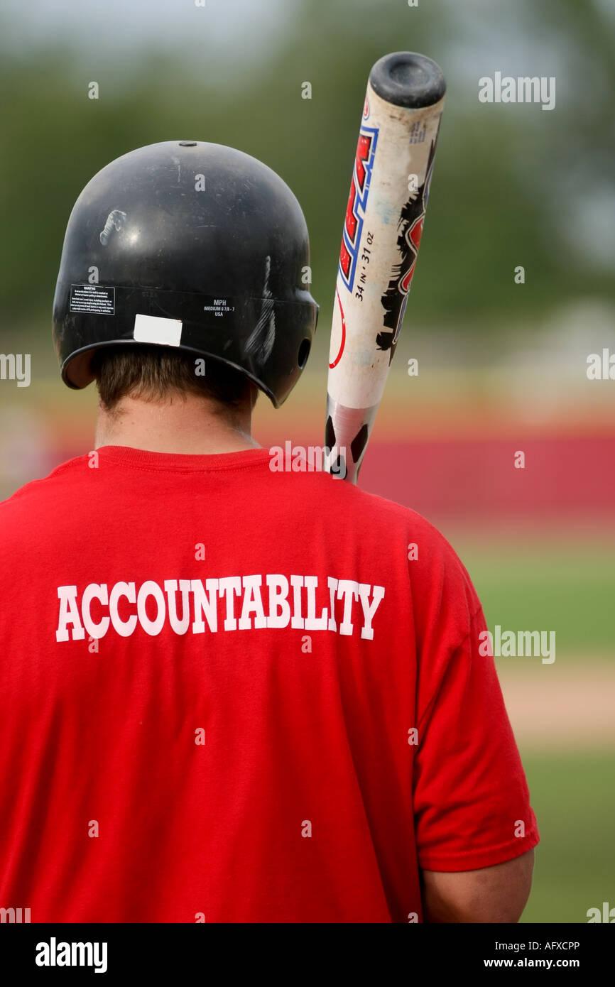 Baseball player, 'accountability'. - Stock Image