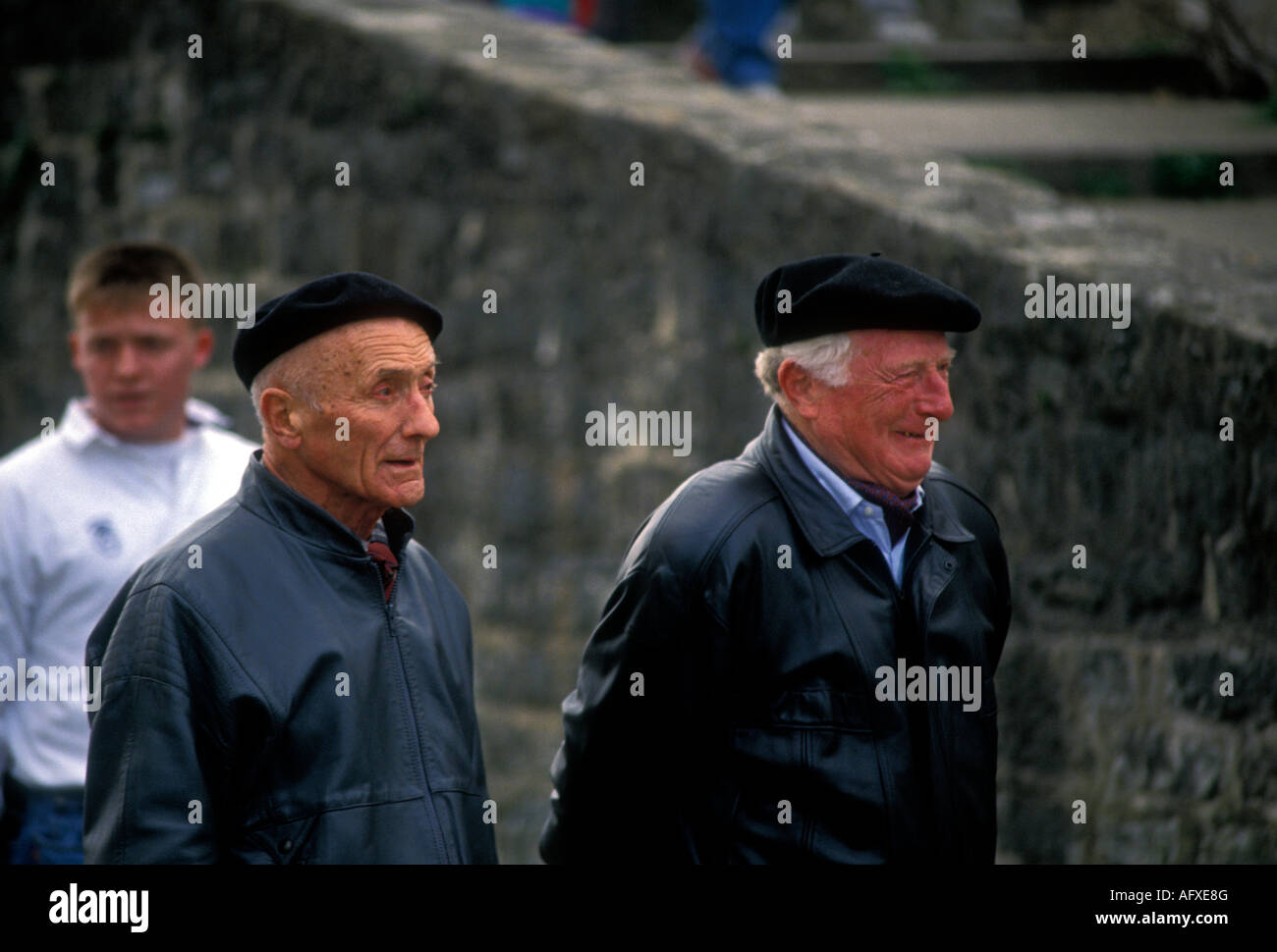 29225b7e9498e French Basque people adult men wearing black beret in the French Basque  Country capital city of