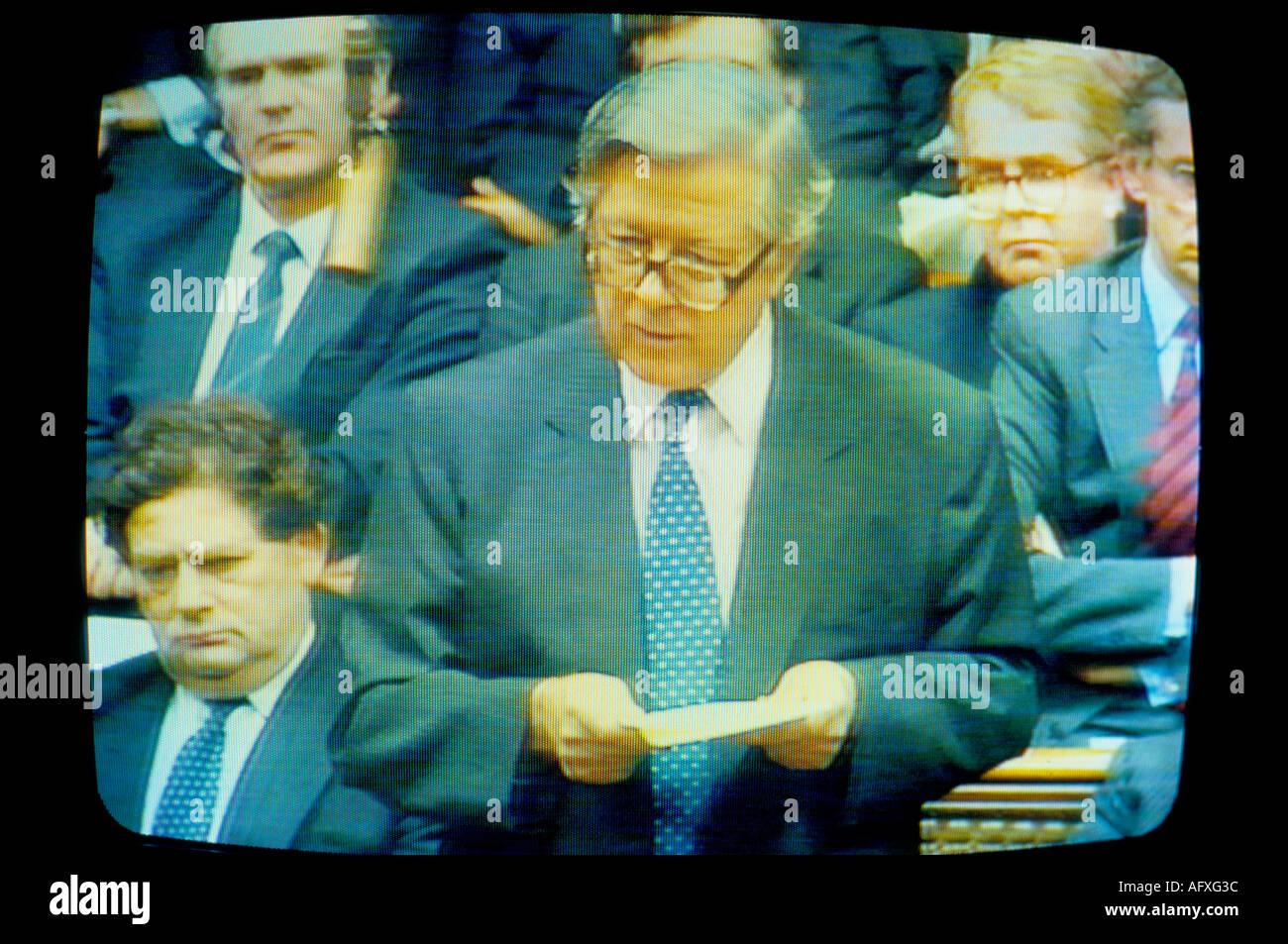 Sir Geoffrey Howe on TV Resignation Speech House of Commons London, November 1st 1990. HOMER SYKES - Stock Image