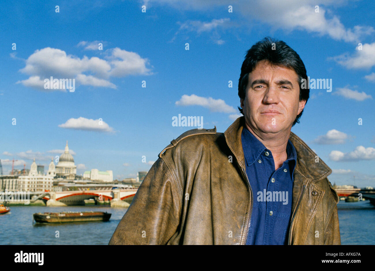 British actor  Michael Mealia by River Thames in London - Stock Image