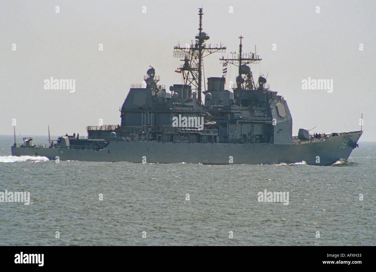 CHESAPEAKE BAY VIRGINIA USA August USS San Jacinto Ticonderoga CG 56 Class in Chesapeake Bay leaving Norfolk Naval Base - Stock Image