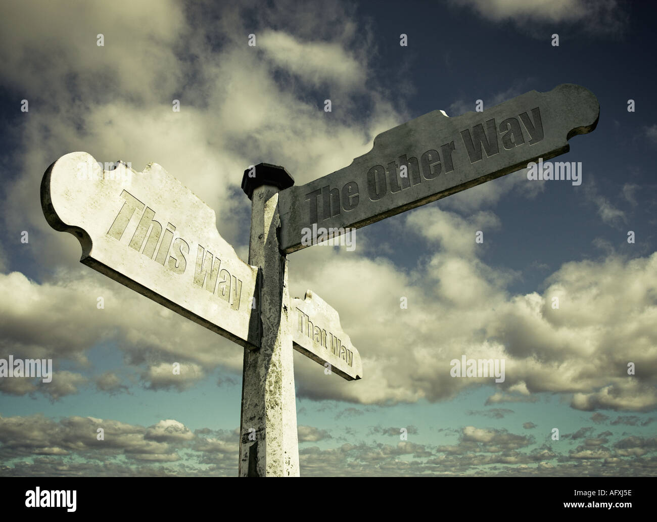 Which way signpost with choices - Stock Image