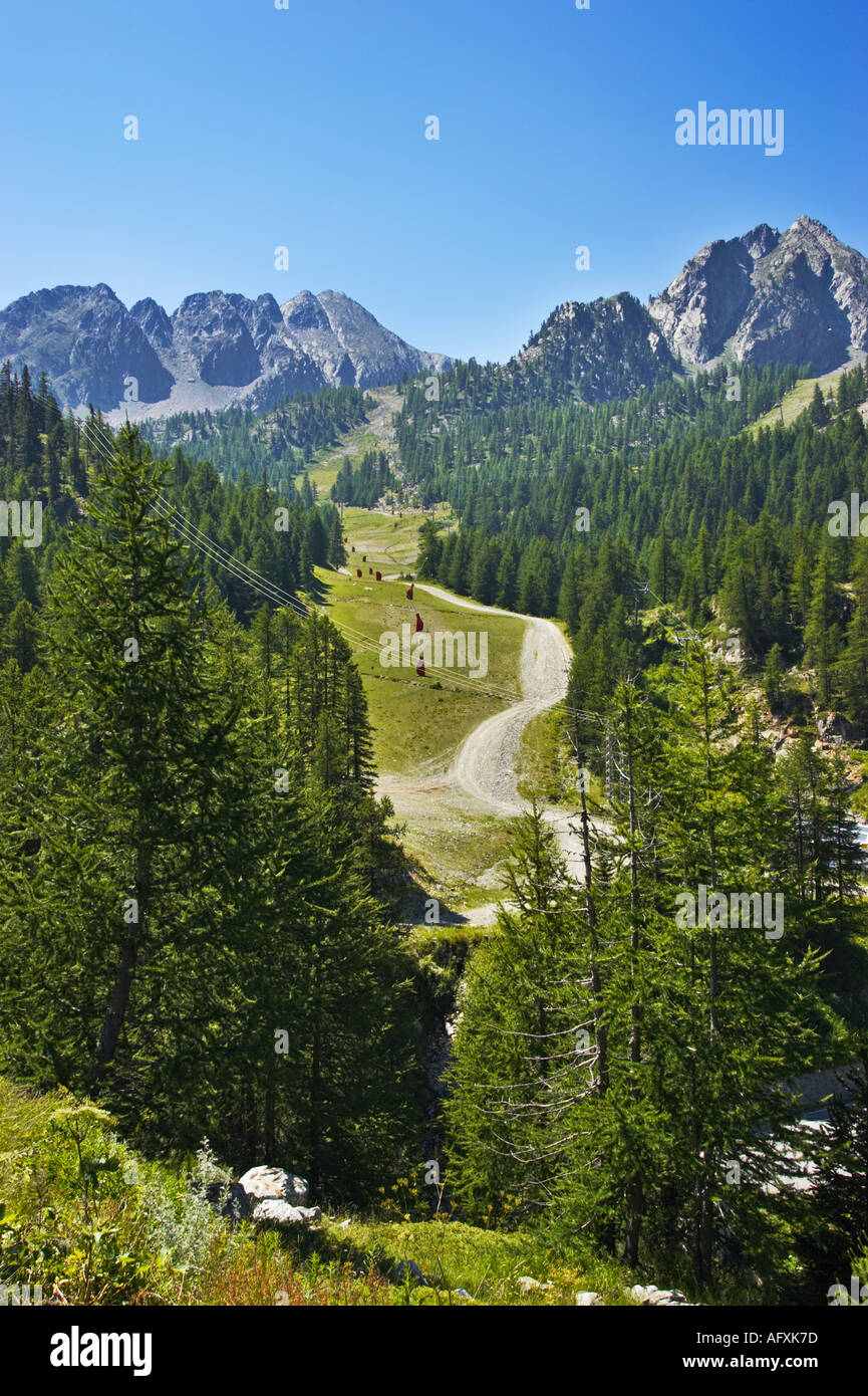 Alpes Maritimes in the Mercantour National Park, French mountains near the ski resort of Isola, Provence, France - Stock Image