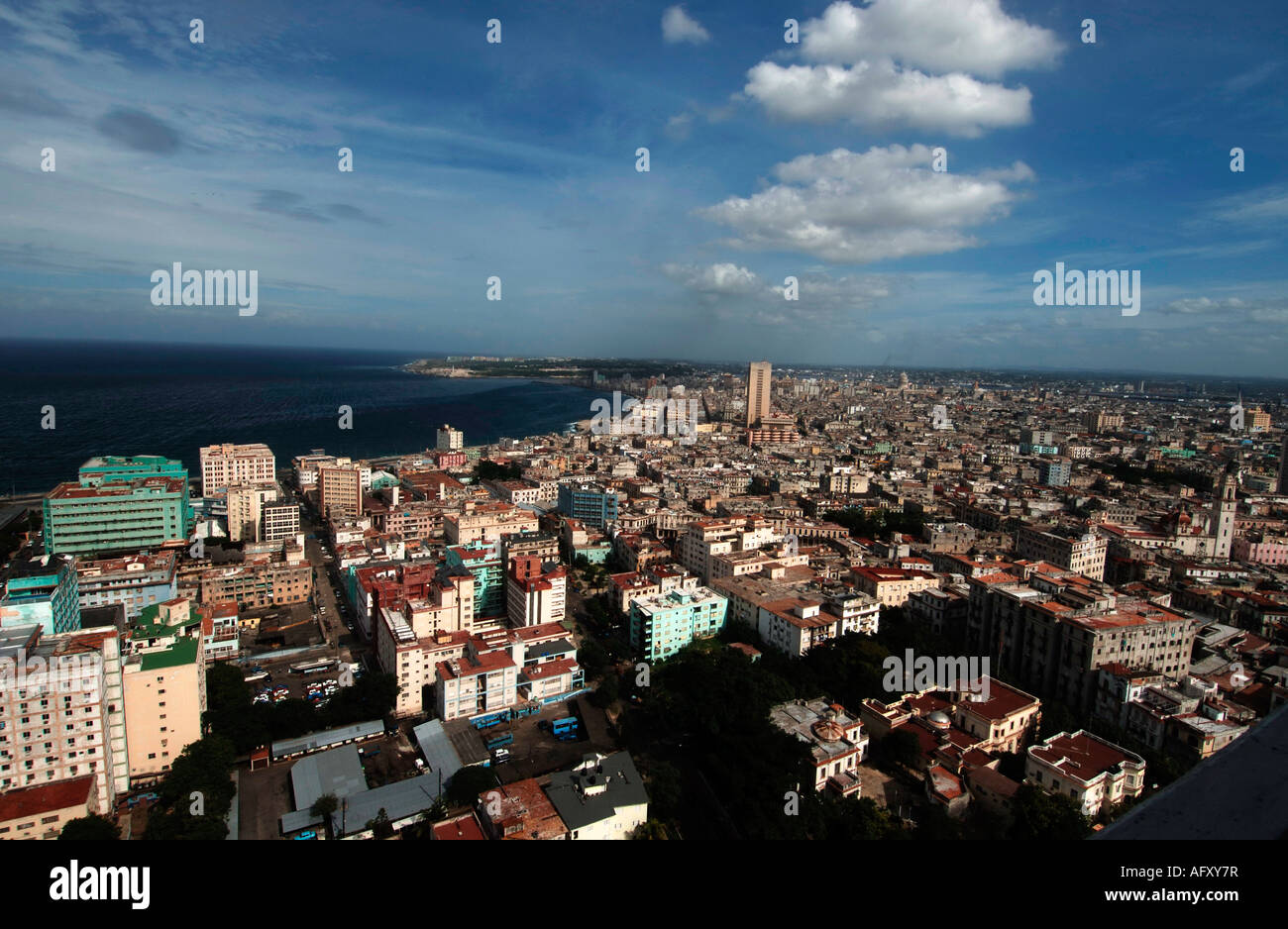 Cuba aerial view of Vedado and centro Havana from the hotel Tryp Habana Libre Stock Photo