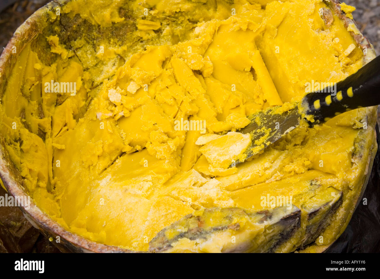Shea butter from Ghana in bowl made from African Karite Shea tree butyrosperum parkii Stock Photo