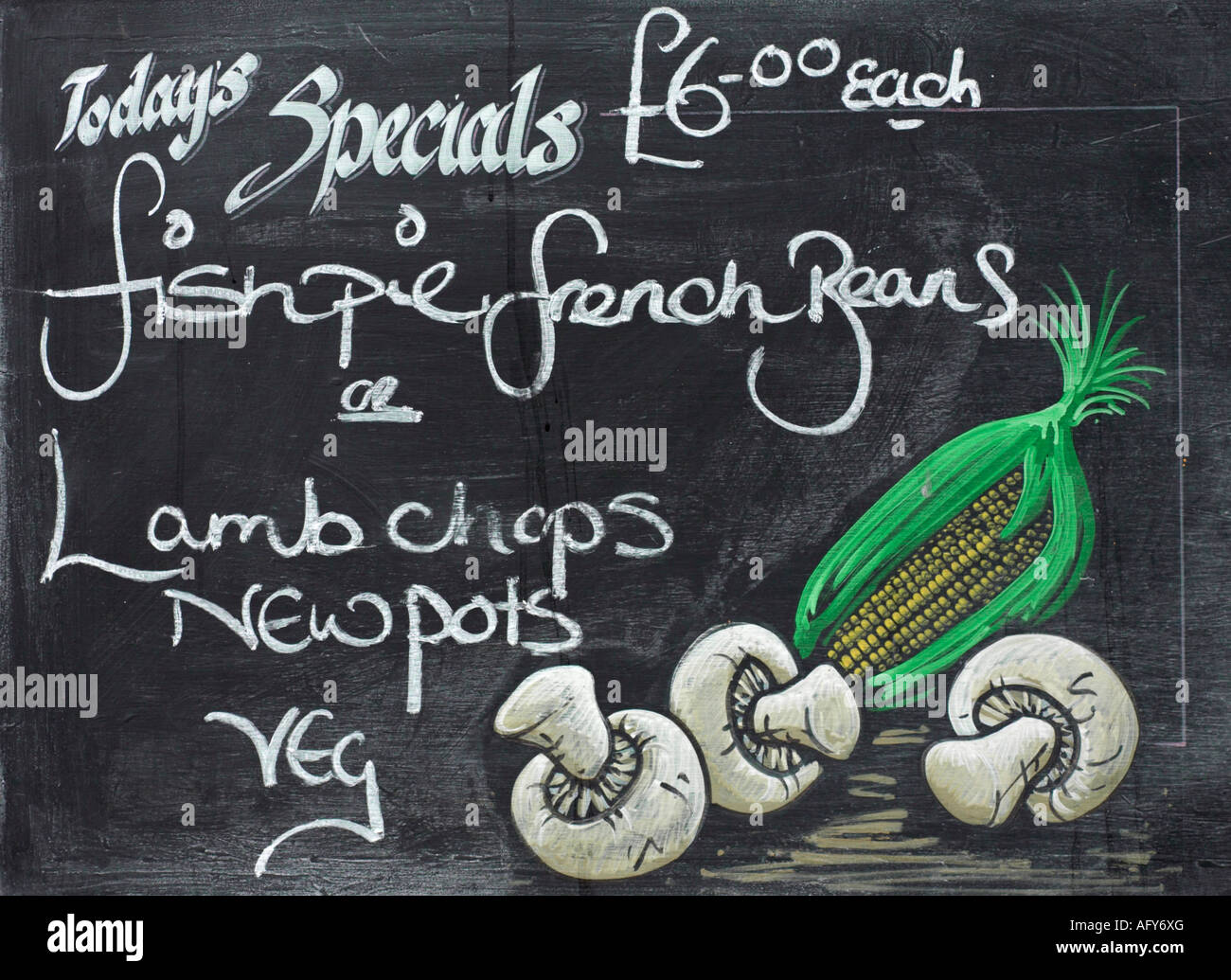 English Public House Chalkboard advertising food - Stock Image