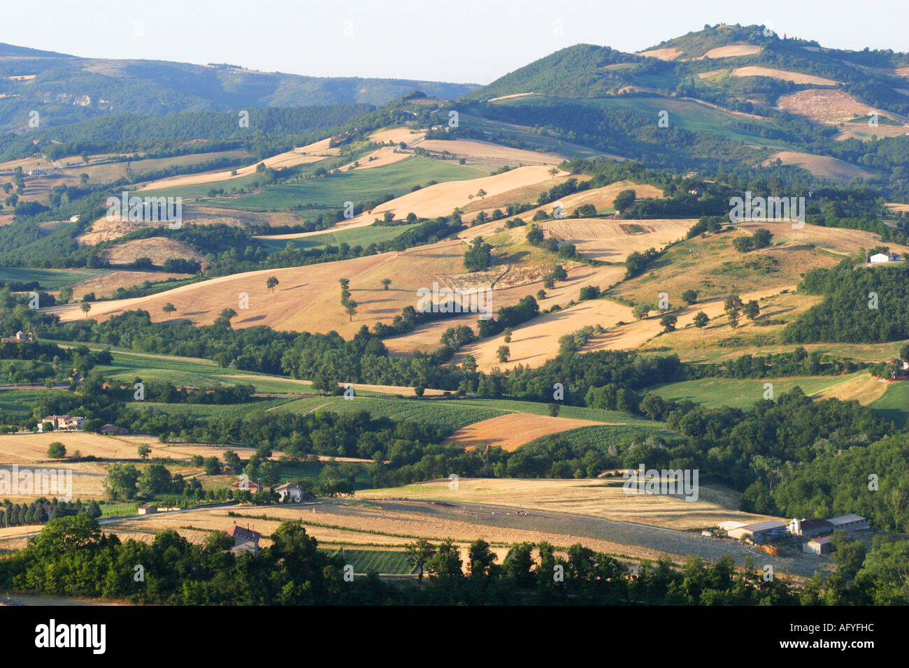 The beautiful Le Marche Italy countryside near Frontone Stock Photo