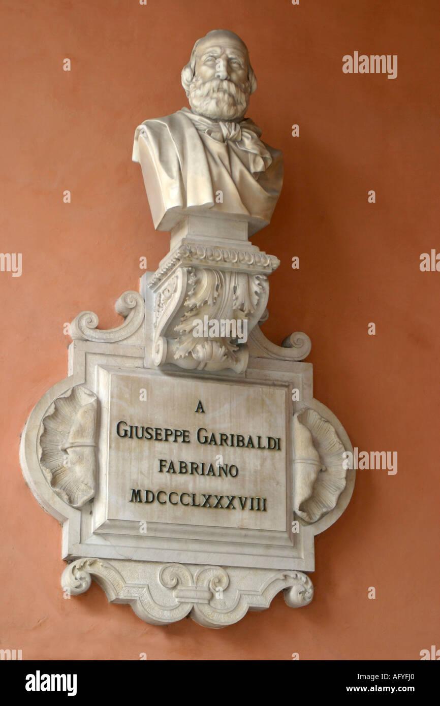 Wall plaque of Giuseppe Garibaldi  1807-1882 in the town center of Fabriano, Le Marche Italy Stock Photo