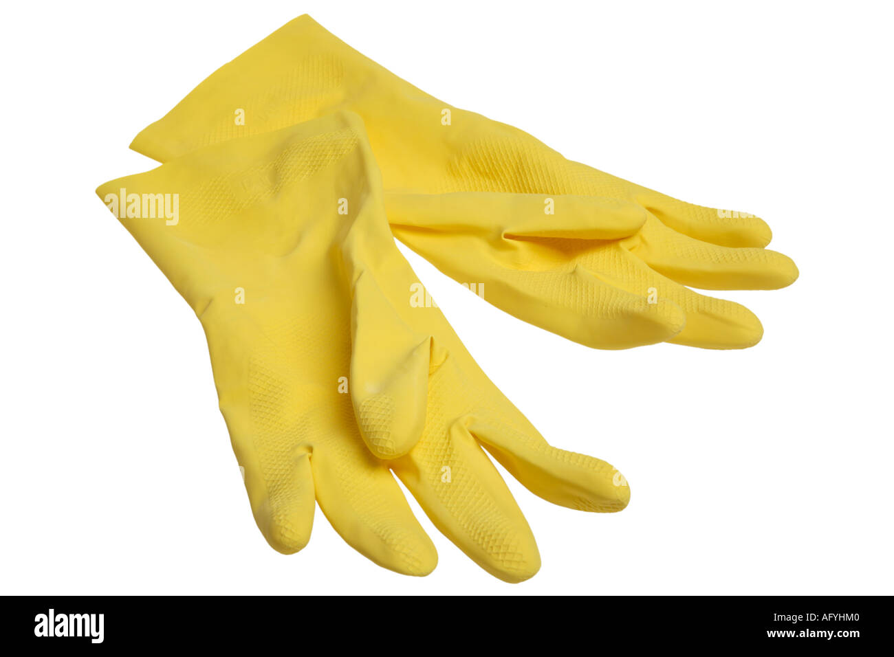 Yellow Rubber Gloves - Stock Image