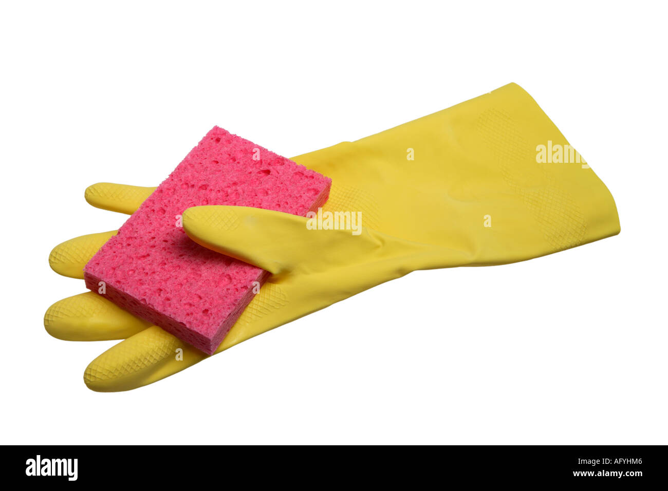 Rubber Glove and Sponge - Stock Image