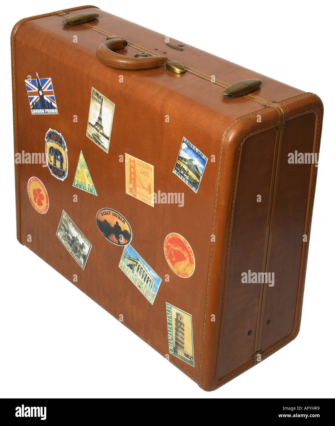 Suitcase with stickers - Stock Image