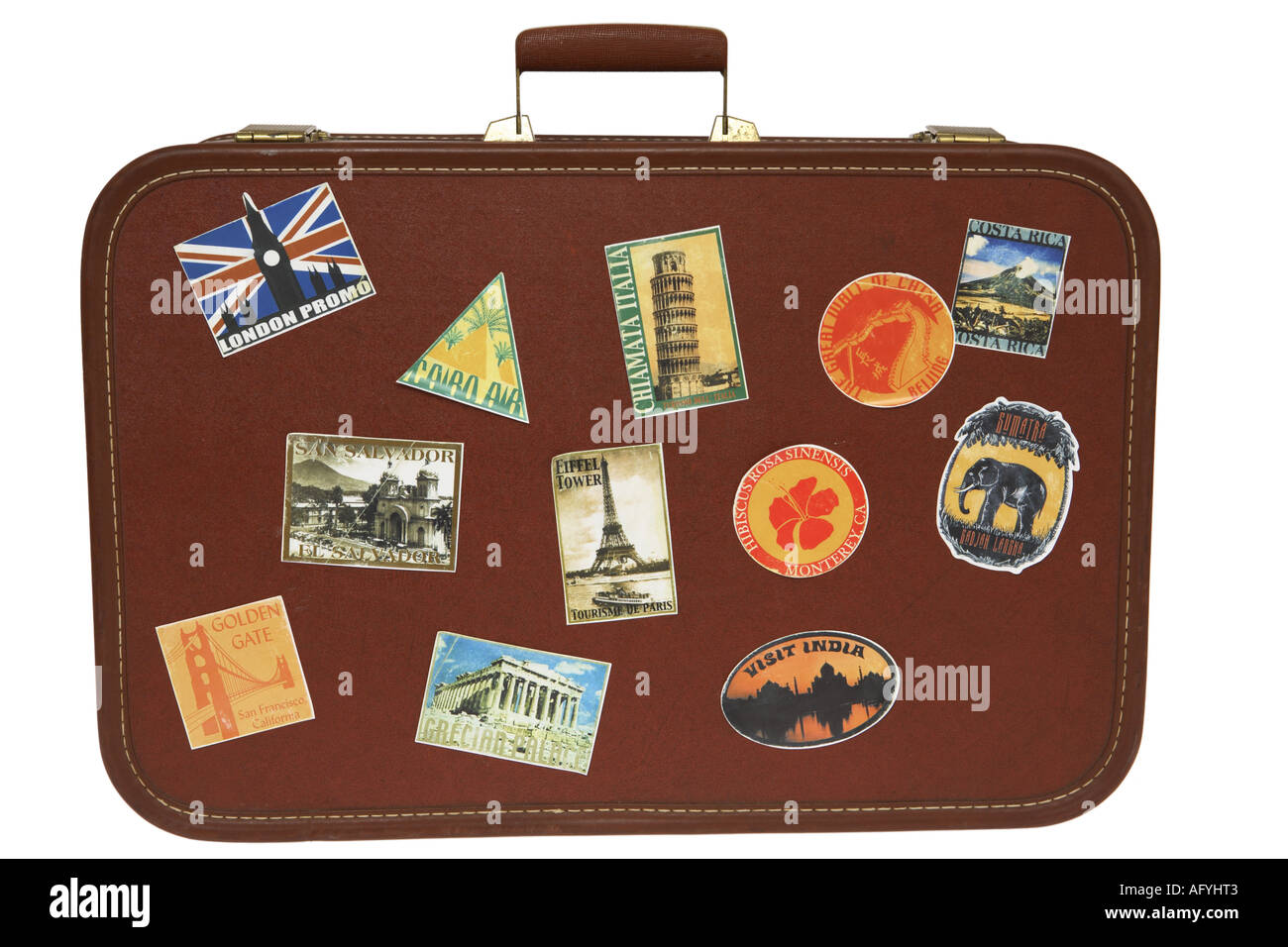 vintage suitcase stickers stock photos vintage suitcase stickers