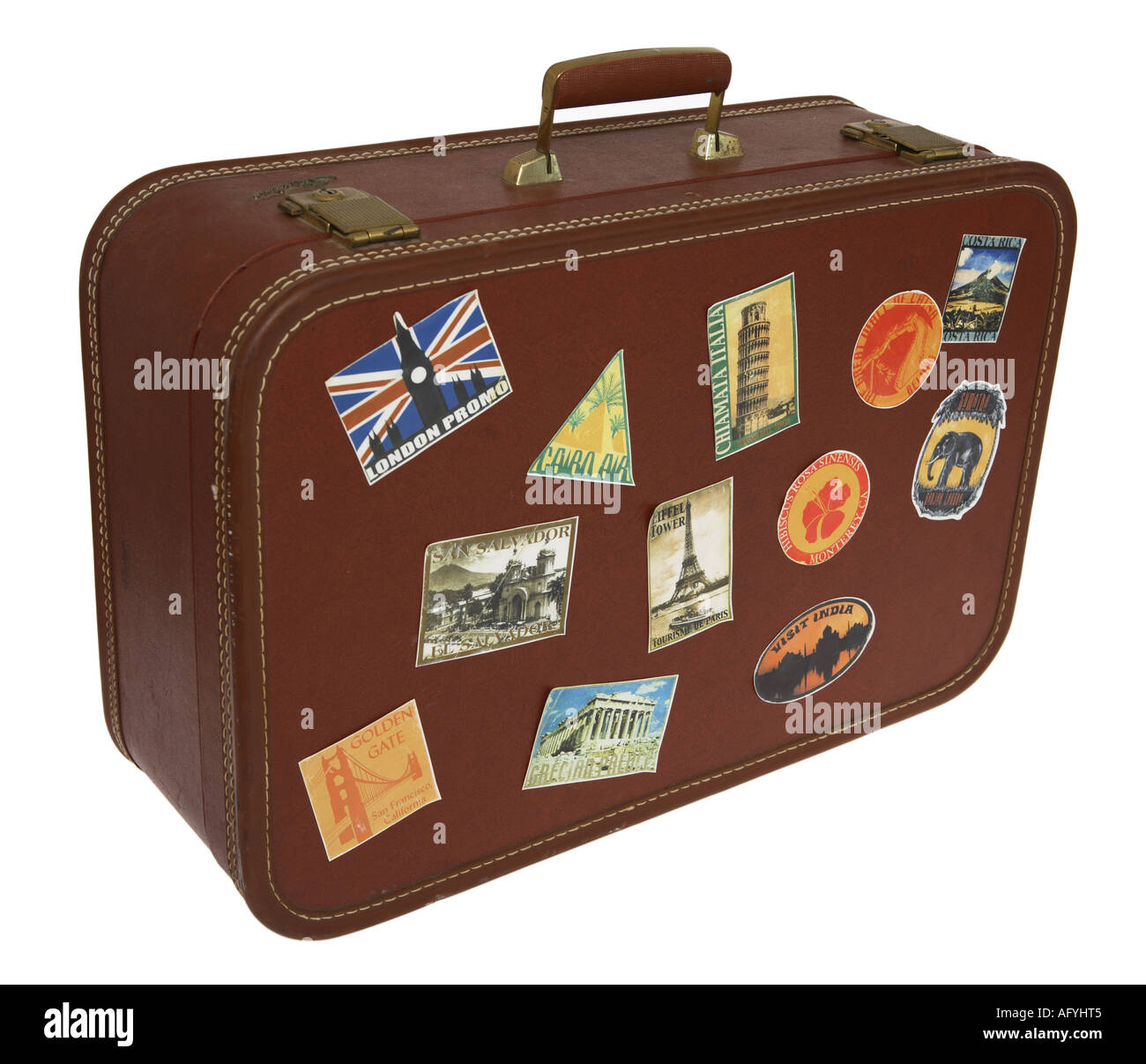 suitcase with travel stickers stock photo 8026180 alamy