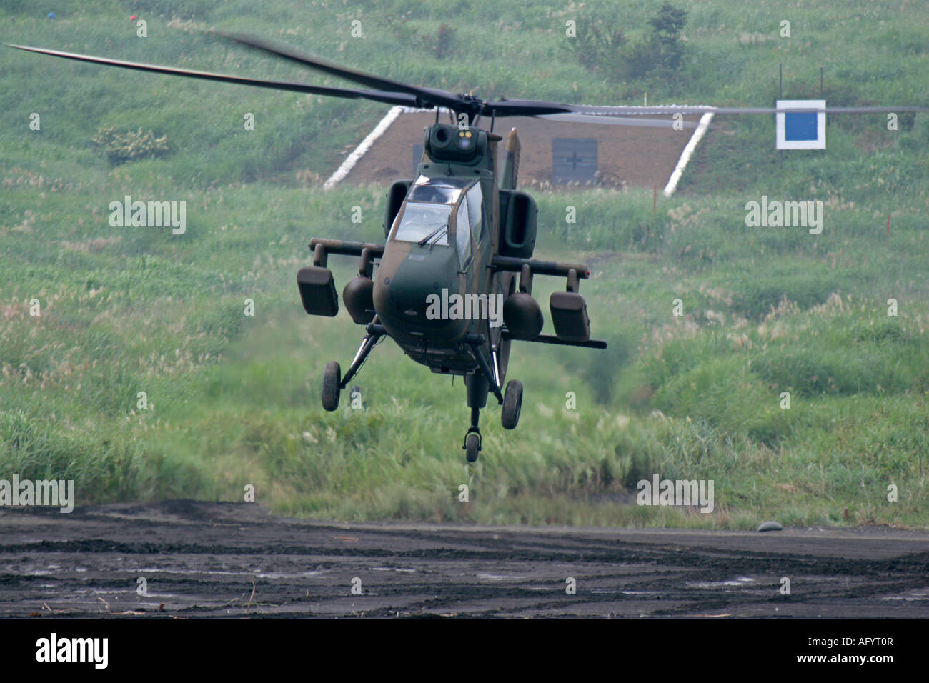 Kawasaki OH-1 reconnaissance helicopter of Japan Ground Self Defence Force - Stock Image