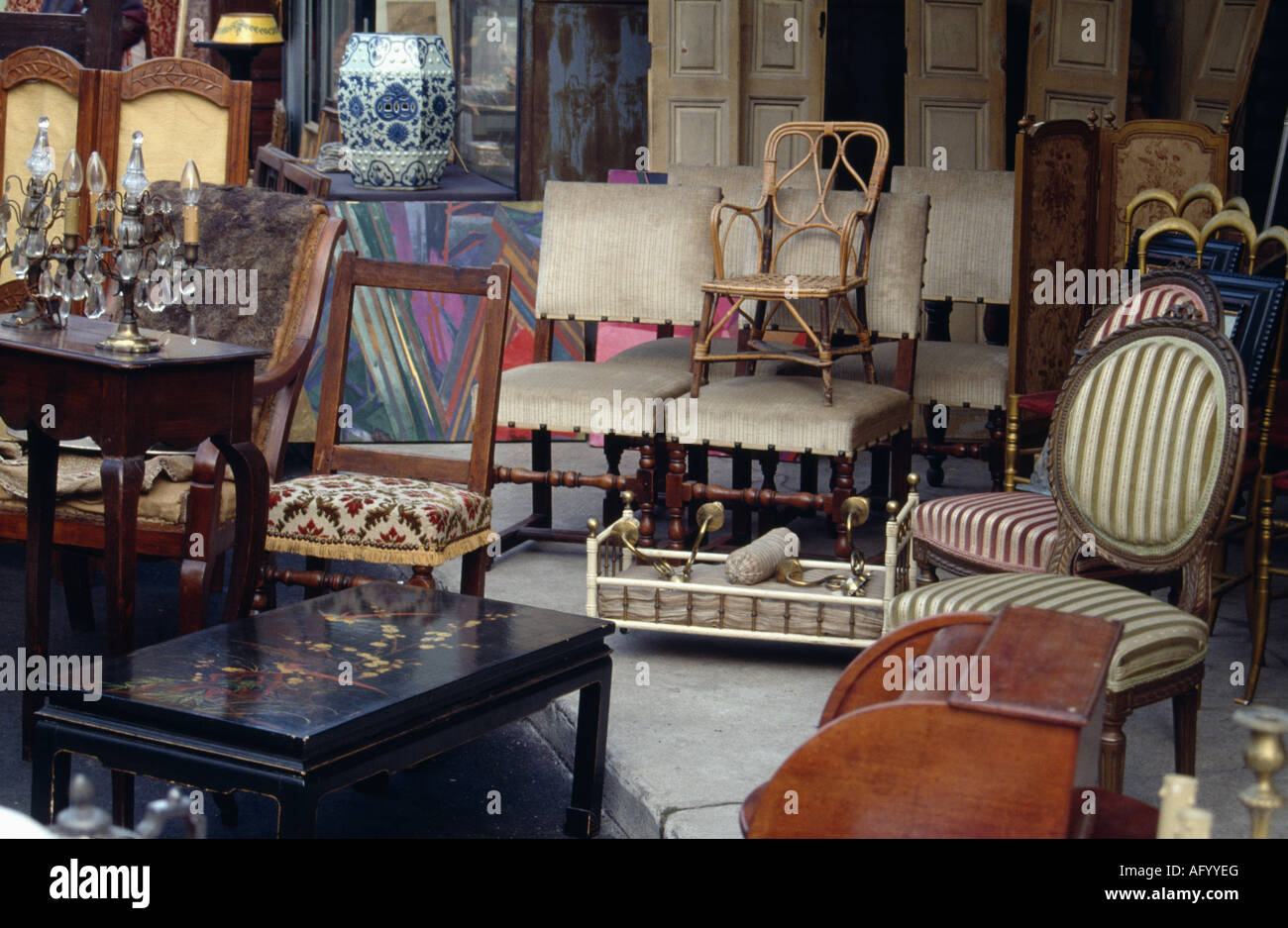 Antique furniture in French antique shop - Antique Furniture In French Antique Shop Stock Photo: 14049111 - Alamy