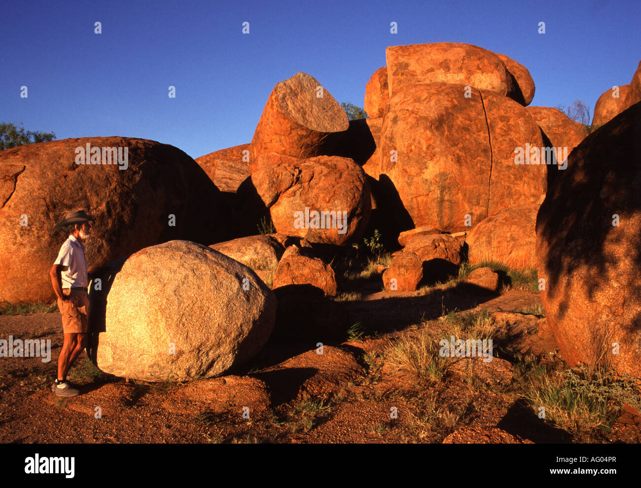 volcanically formed granite rocks known as Devils Marbles, at Devils Marbles, Northern Territories, Australia. - Stock Image