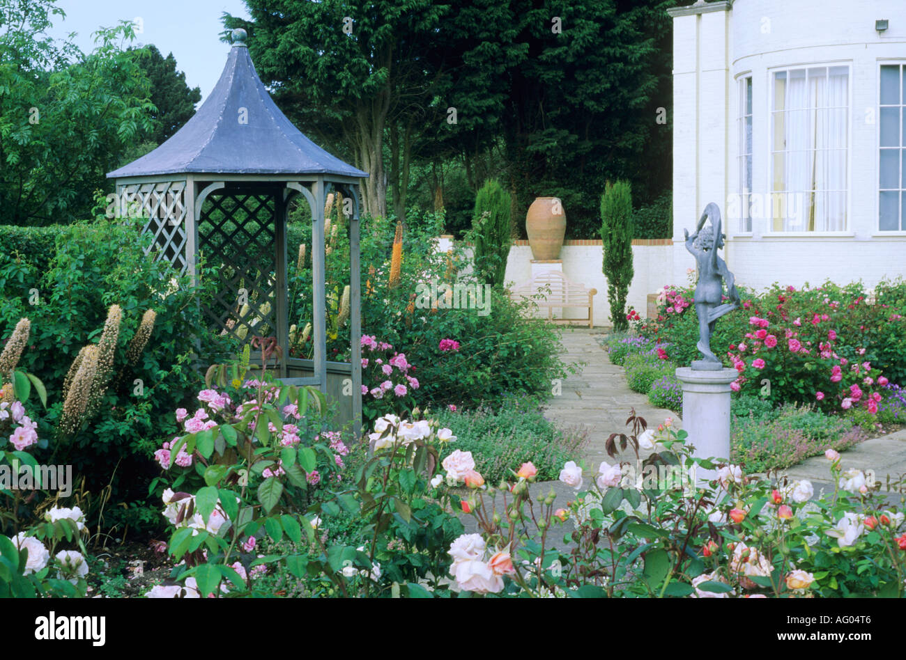 Pagoda, Statue, Urn, Garden Paths, Roses, Kettle Hill, Norfolk, Eremurus,  Sun Shelter
