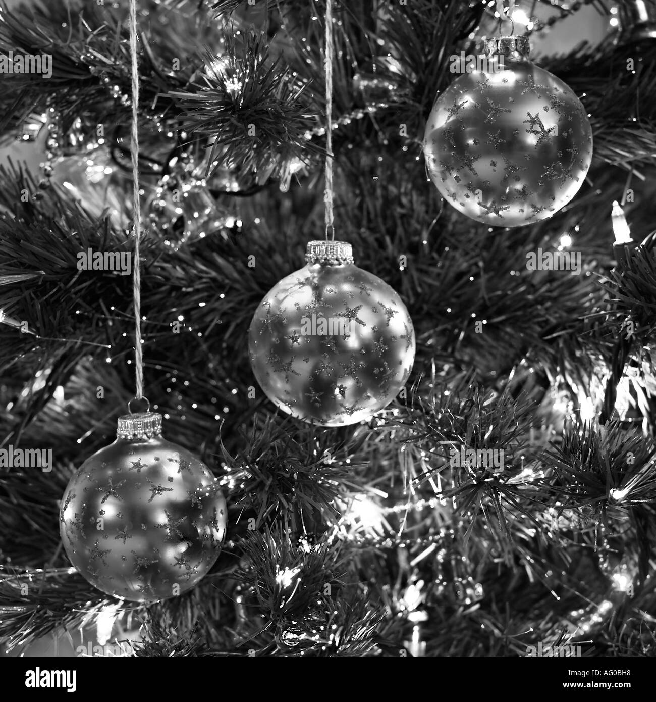 Christmas tree ornaments /in black-and-white/ - Stock Image