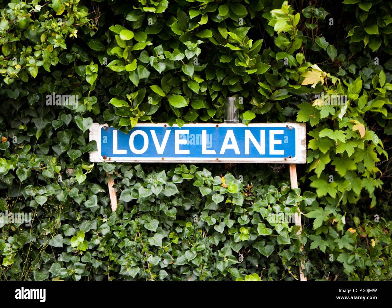 British road sign for Love Lane - Stock Image