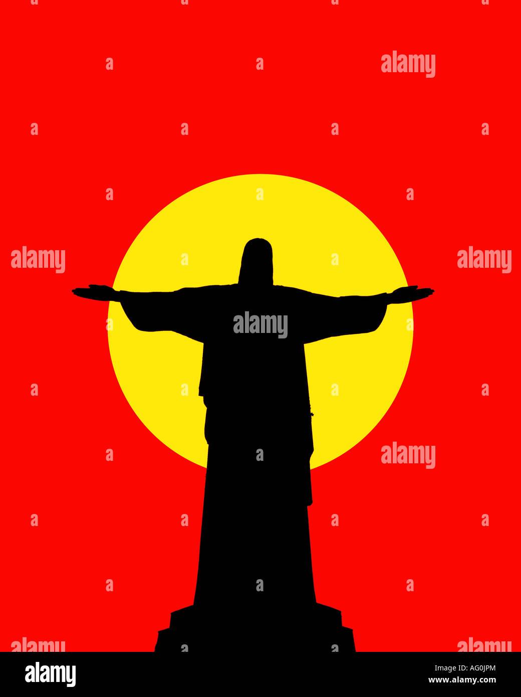 The statue of Christ, the Redeemer, Corcovado Mountain, Rio de Janeiro, Brazil - Stock Image